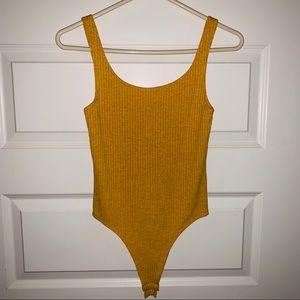 Nasty Gal Tops - Mustard yellow ribbed tank bodysuit